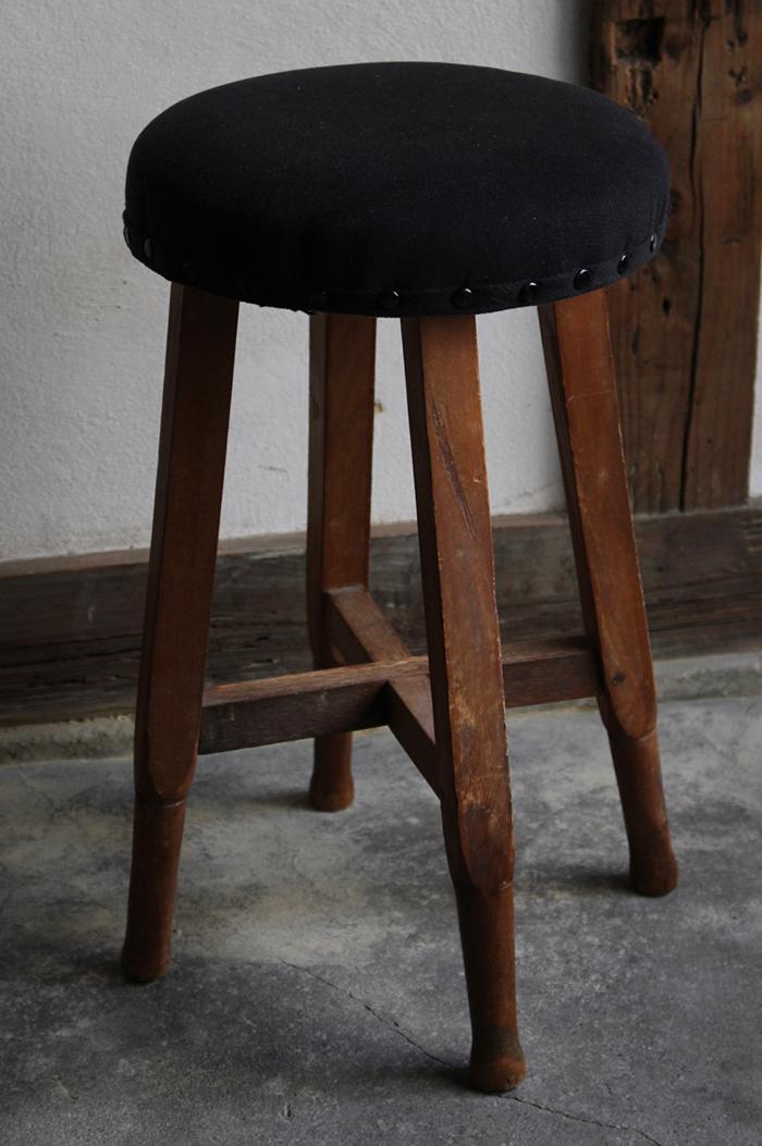 黒い布張り丸スツール・丸椅子