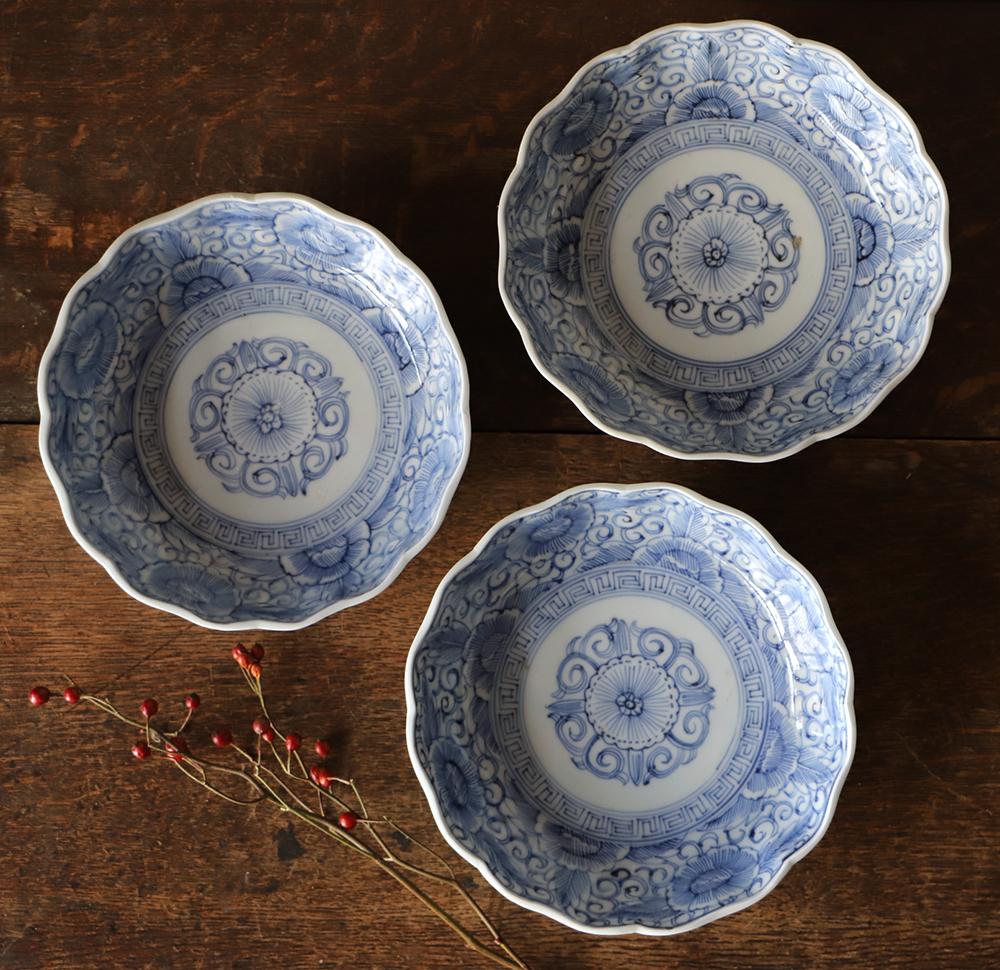 江戸後期 細かな模様が美しい染付なます皿
