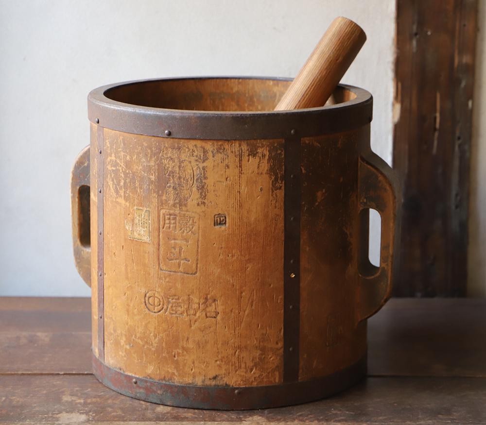 木味の良い一斗枡(古民具) 植木鉢カバーや傘立てなどに
