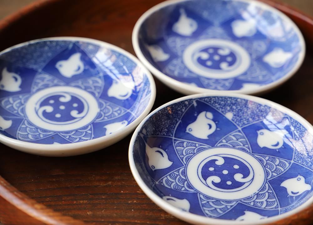 可愛い波千鳥の印判小皿3枚セット