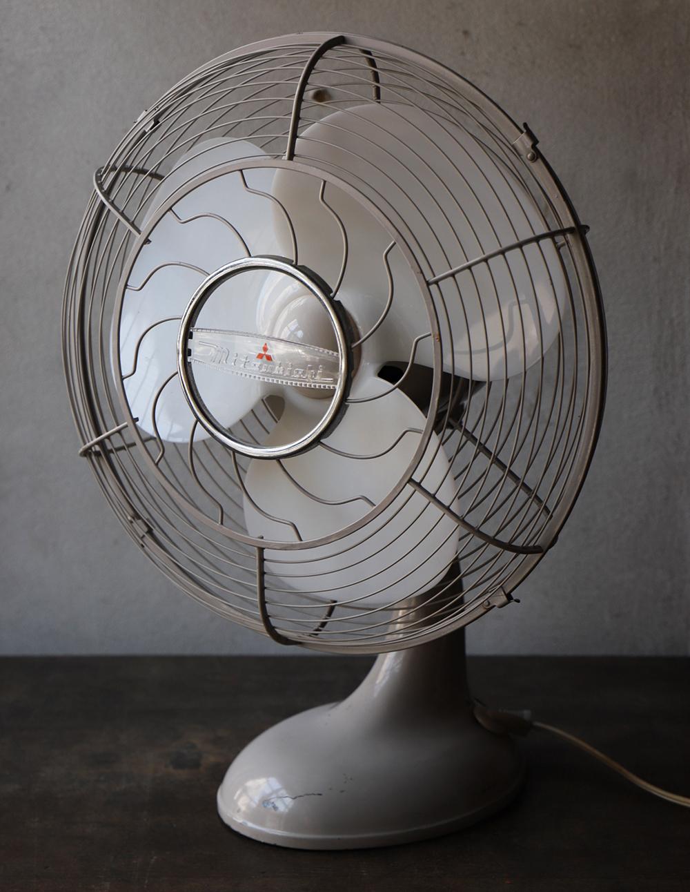 三菱製 ライトグレーのレトロな扇風機